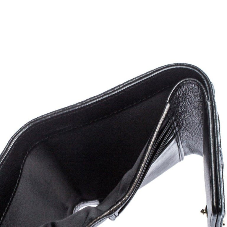 Dior Black Leather Diorama Trifold Wallet For Sale 2