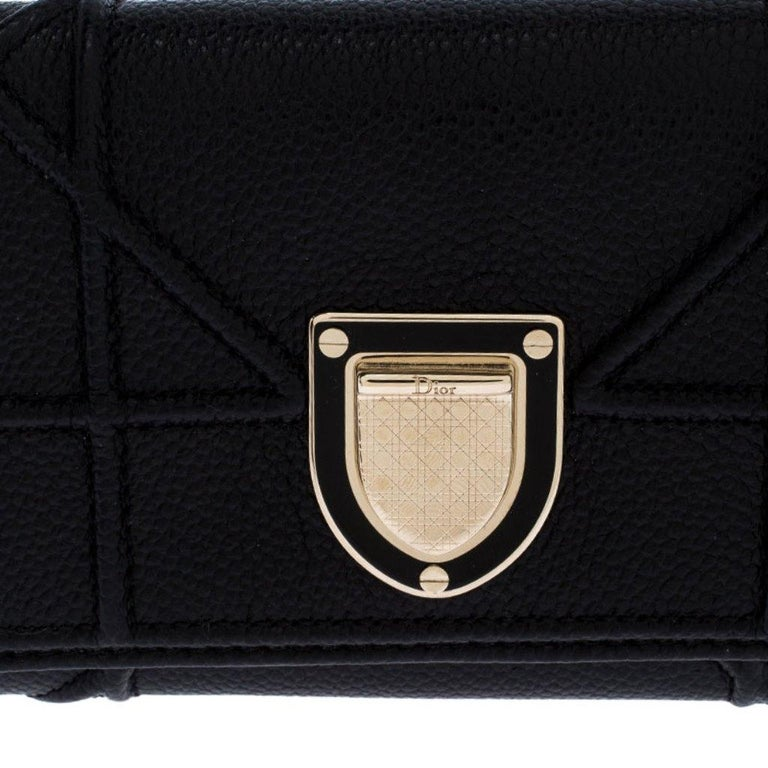 Dior Black Leather Diorama Trifold Wallet For Sale 3