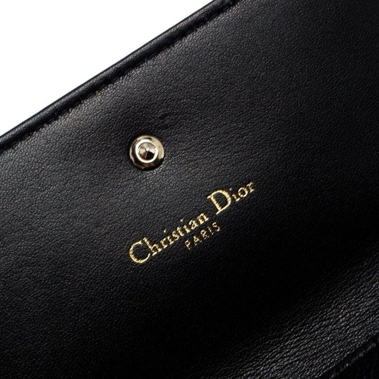 Dior Black Leather Diorama Trifold Wallet For Sale 4