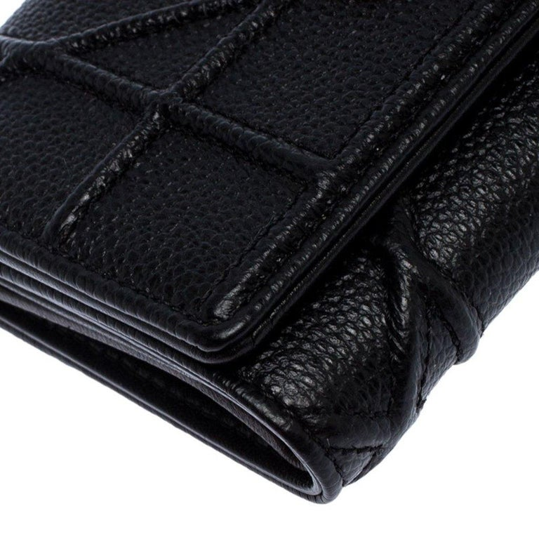 Dior Black Leather Diorama Trifold Wallet For Sale 5