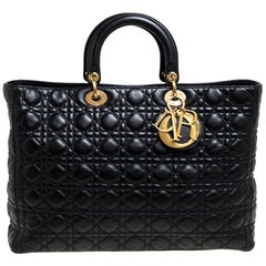 Dior Black Leather Extra Large Lady Dior Tote