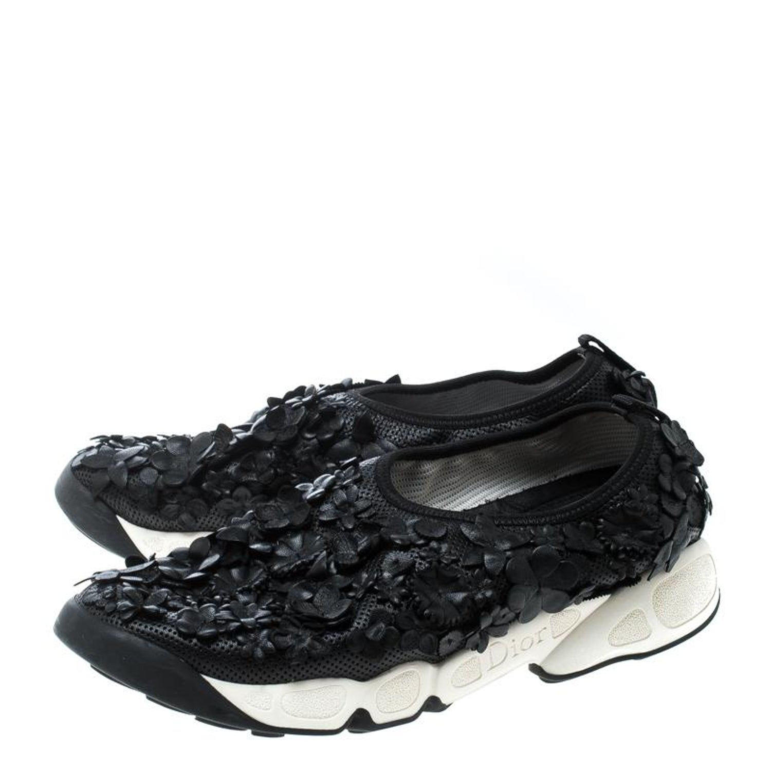 f92f4558 Dior Black Leather Floral Applique Fusion Sneakers Size 38