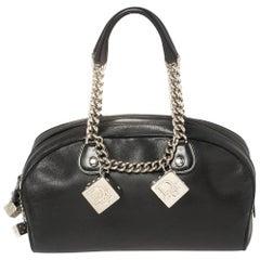 Dior Black Leather Gambler Dice Bowler Bag
