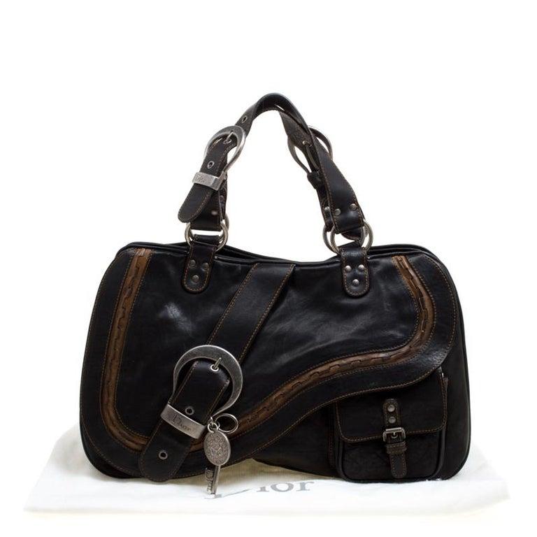 Dior Black Leather Gaucho Shoulder Bag For Sale 6