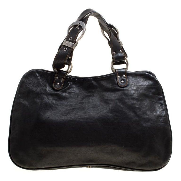 Women's Dior Black Leather Gaucho Shoulder Bag For Sale