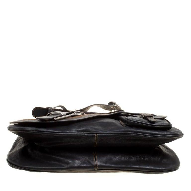 Dior Black Leather Gaucho Shoulder Bag For Sale 1