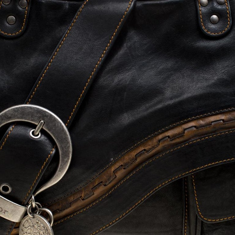 Dior Black Leather Gaucho Shoulder Bag For Sale 5