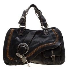 Dior Black Leather Gaucho Shoulder Bag