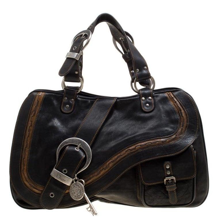 Dior Black Leather Gaucho Shoulder Bag For Sale