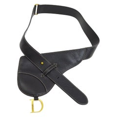 Dior Black Leather Gold 'D' Charm Stitch Fanny Pack Waist Bum Belt Bag
