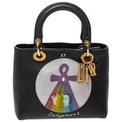 Dior Black Leather Judgement Handpainted Lady Dior Tote
