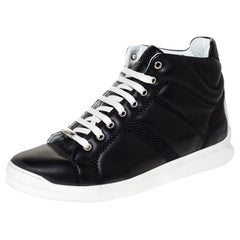 Dior Black Leather Lace High Top Sneakers Size 41