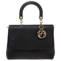 Dior Black Leather Large Be Dior Flap Top Handle Bag