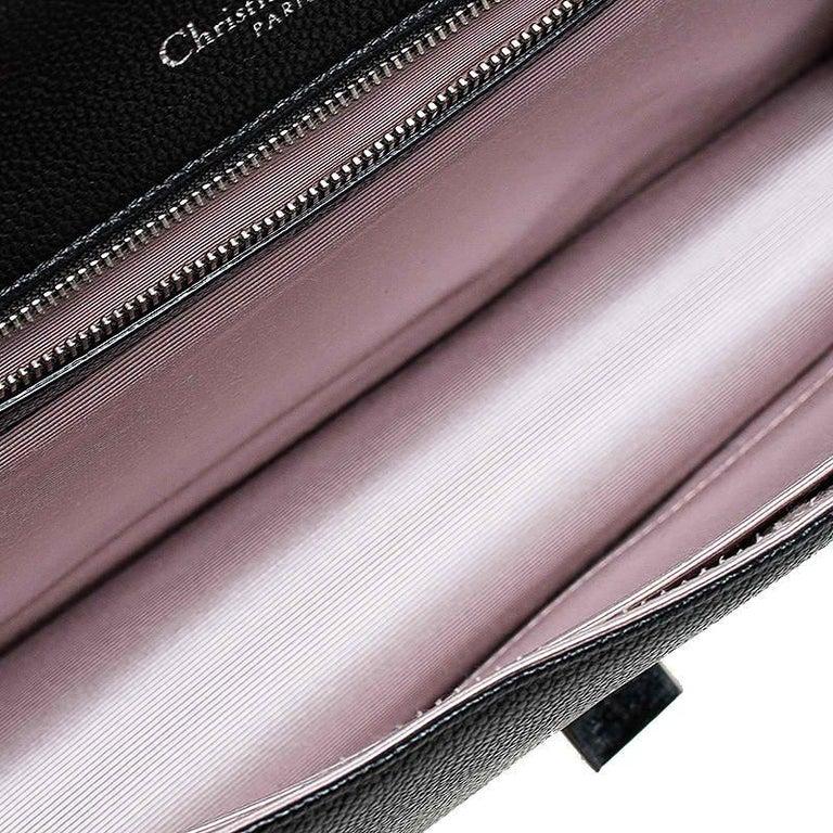 Dior Black Leather Large Diorama Flap Shoulder Bag For Sale 6