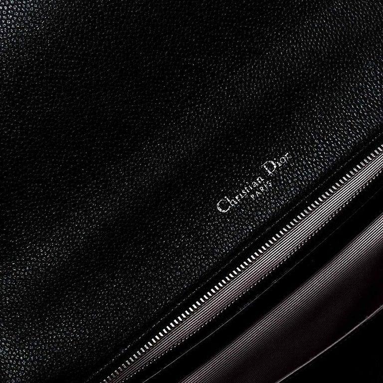 Dior Black Leather Large Diorama Flap Shoulder Bag For Sale 7