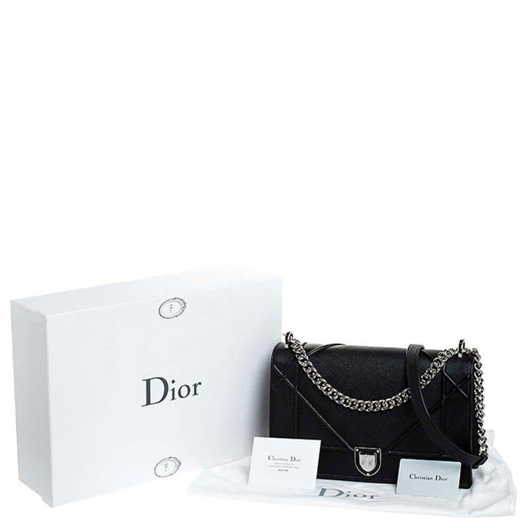 Dior Black Leather Large Diorama Flap Shoulder Bag For Sale 8
