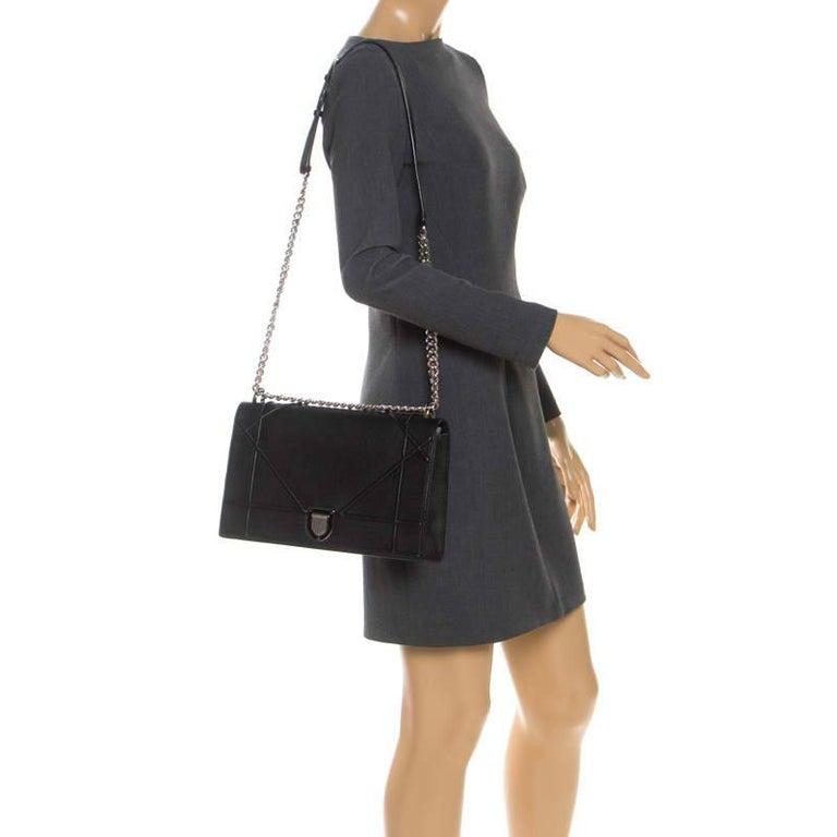 Dior Black Leather Large Diorama Flap Shoulder Bag In Excellent Condition For Sale In Dubai, Al Qouz 2