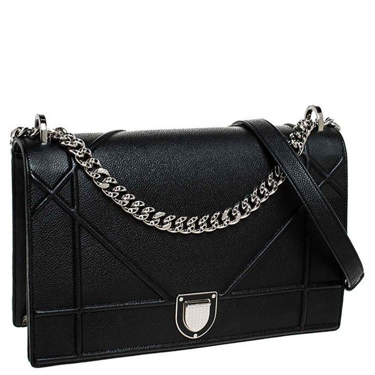Women's Dior Black Leather Large Diorama Flap Shoulder Bag For Sale