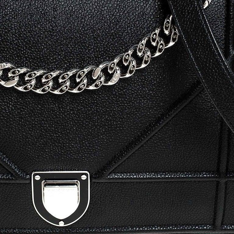 Dior Black Leather Large Diorama Flap Shoulder Bag For Sale 3