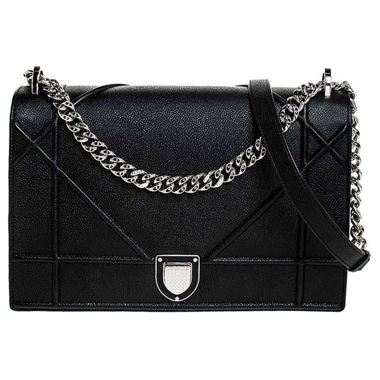 Dior Black Leather Large Diorama Flap Shoulder Bag For Sale