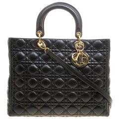 Dior Black Leather Large Lady Dior Tote