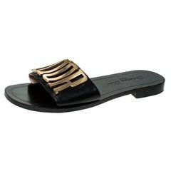 Dior Black Leather Logo Flat Sandals Size 37