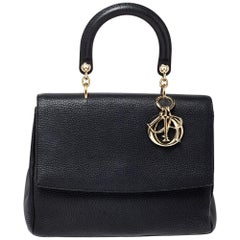 Dior Black Leather Medium Be Dior Top Handle Bag