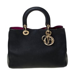 Dior Black Leather Medium Diorissimo Shopper Tote