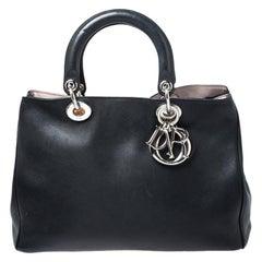 Dior Black Leather Medium Diorissimo Shopper Tote
