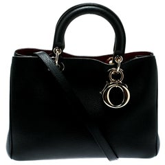 Dior Black Leather Medium Diorissimo Top Handle Bag