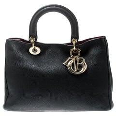 Dior Black Leather Medium Diorissimo Tote