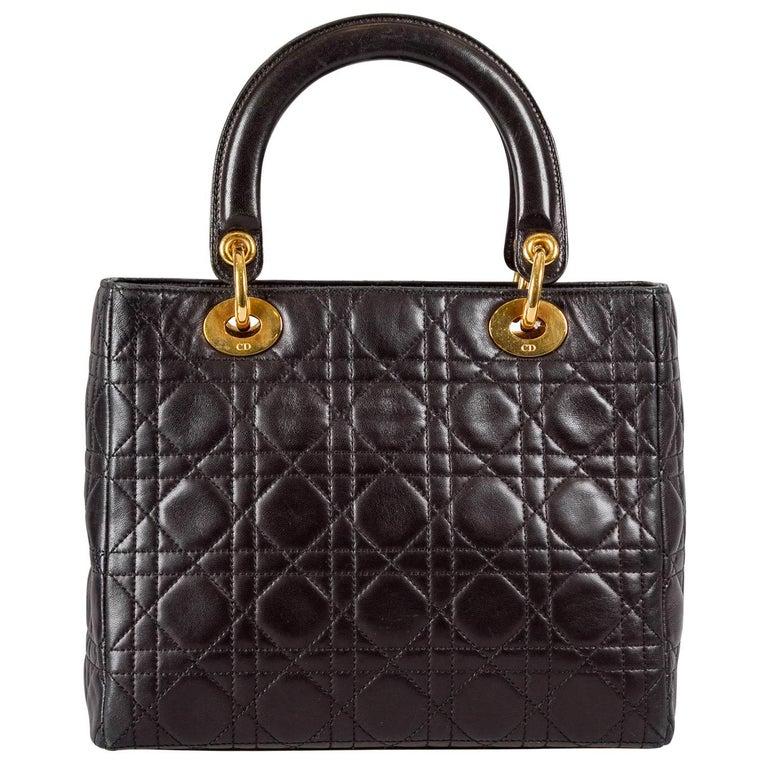 Dior Black Leather Medium Lady Dior Tote In Good Condition In Dubai, Al Qouz 2