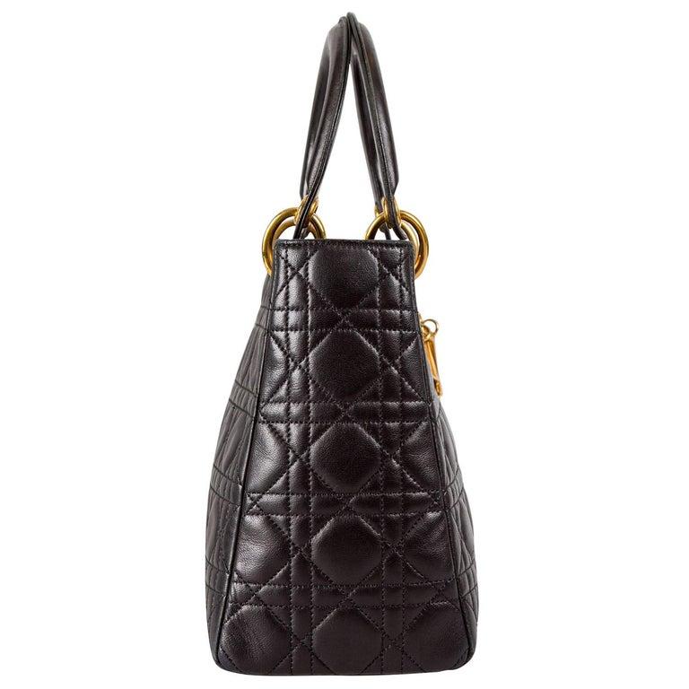 Women's Dior Black Leather Medium Lady Dior Tote