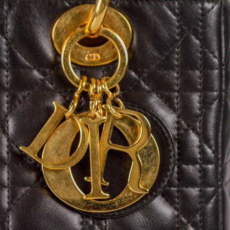 Dior Black Leather Medium Lady Dior Tote 2