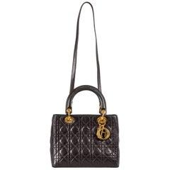 Dior Black Leather Medium Lady Dior Tote