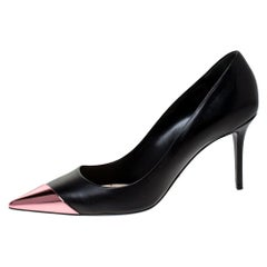 Dior Black Leather Metal Pointed Cap Toe Pumps Size 40