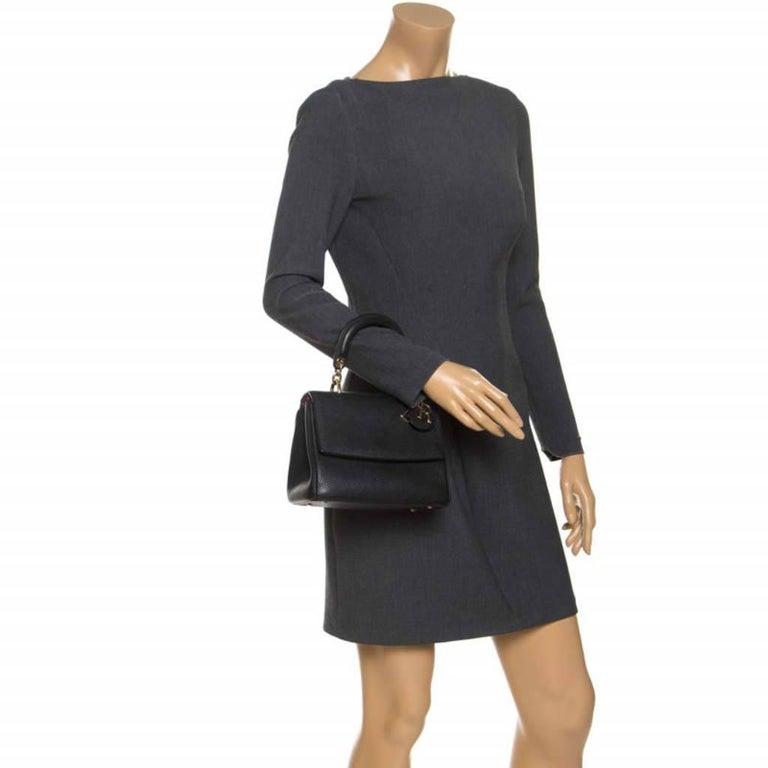 Dior Black Leather Mini Be Dior Top Handle Bag In Good Condition For Sale In Dubai, Al Qouz 2