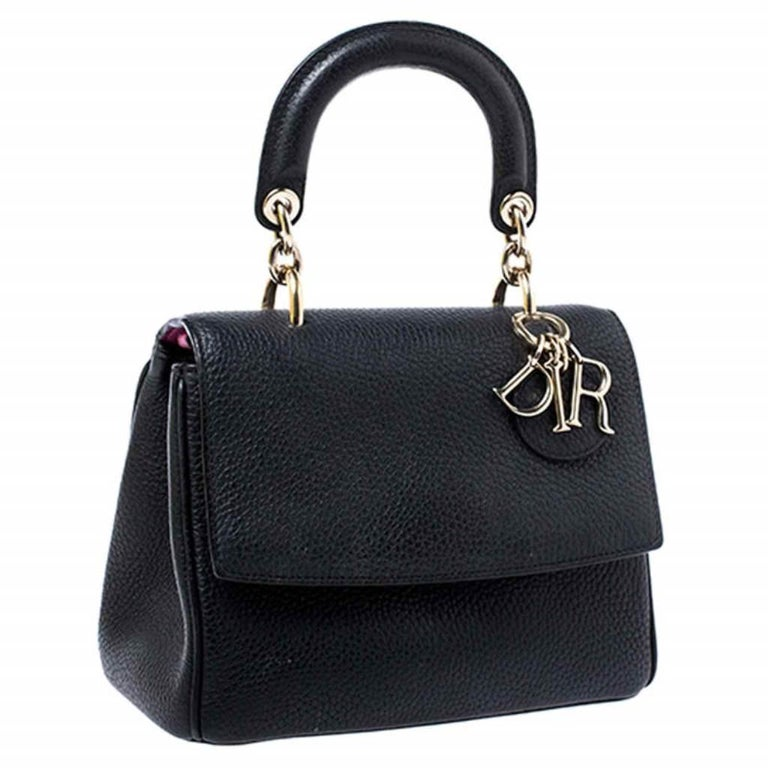 Women's Dior Black Leather Mini Be Dior Top Handle Bag For Sale