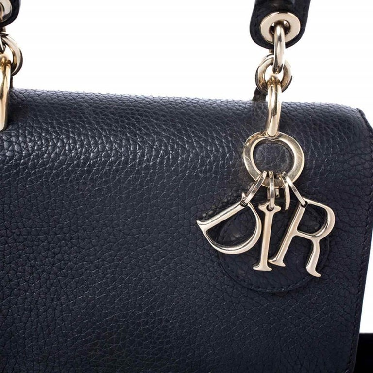 Dior Black Leather Mini Be Dior Top Handle Bag For Sale 2