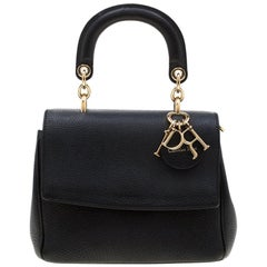 Dior Black Leather Mini Be Dior Top Handle Bag