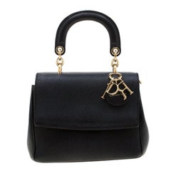 Dior Black Leather Mini Be Dior Top Handle Bag