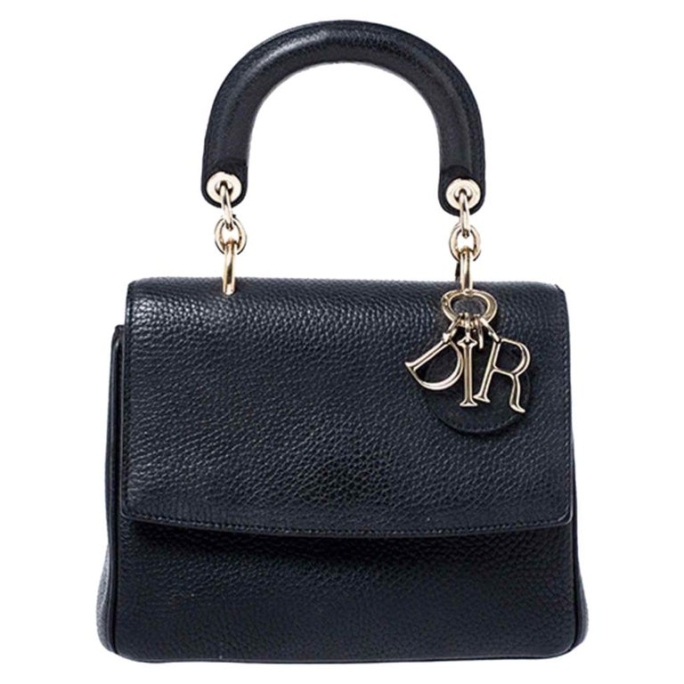 Dior Black Leather Mini Be Dior Top Handle Bag For Sale