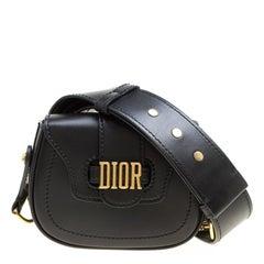 Dior Black Leather Mini D Fence Saddle Bag