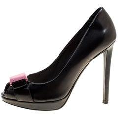 Dior Black Leather Peep Toe Platform Pumps Size 36