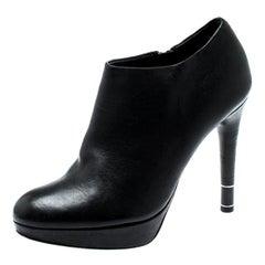 Dior Black Leather Platform Ankle Booties Size 36