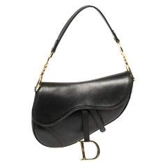 Dior Black Leather Saddle Bag