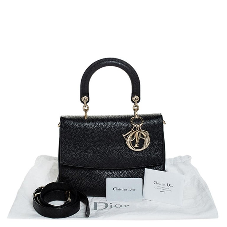 Dior Black Leather Small Be Dior Flap Top Handle Bag For Sale 7