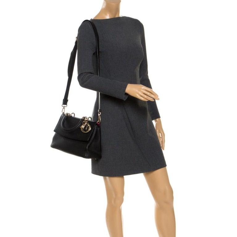 Dior Black Leather Small Be Dior Flap Top Handle Bag In Good Condition For Sale In Dubai, Al Qouz 2