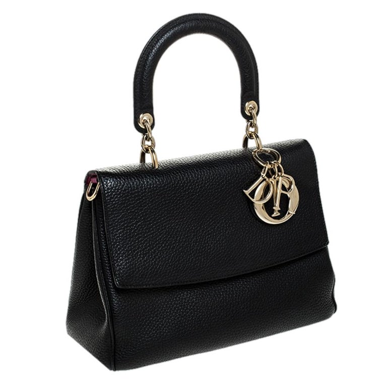 Women's Dior Black Leather Small Be Dior Flap Top Handle Bag For Sale