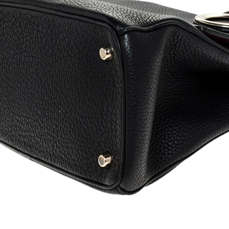 Dior Black Leather Small Be Dior Flap Top Handle Bag For Sale 4